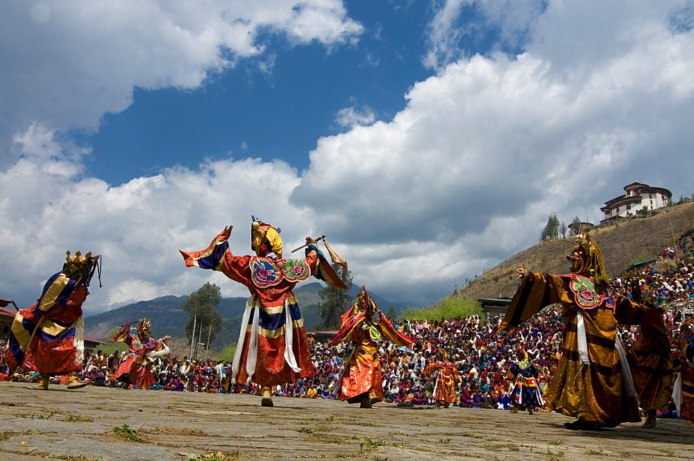 Religious festival with male visitors and dances, Paro Tsechu, Bhutan, Asia