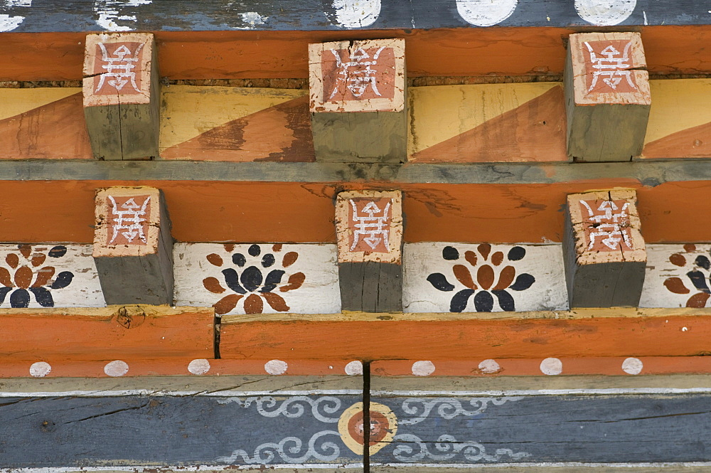 Wooden ornaments in the fortress castle of Wangdue Phodrang, Bhutan, Asia