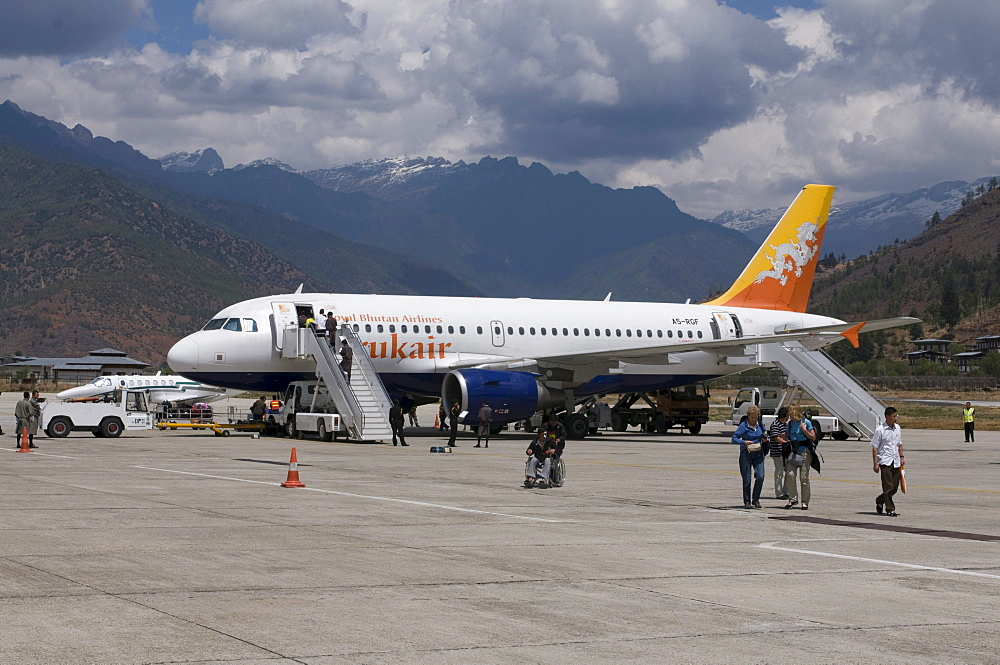 Airplane at airport, Paro, Bhutan, Asia