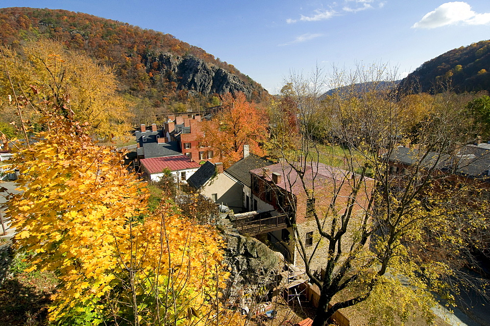 Little houses in Harpers Ferry, surrounded by trees, Maryland, United States of America, USA