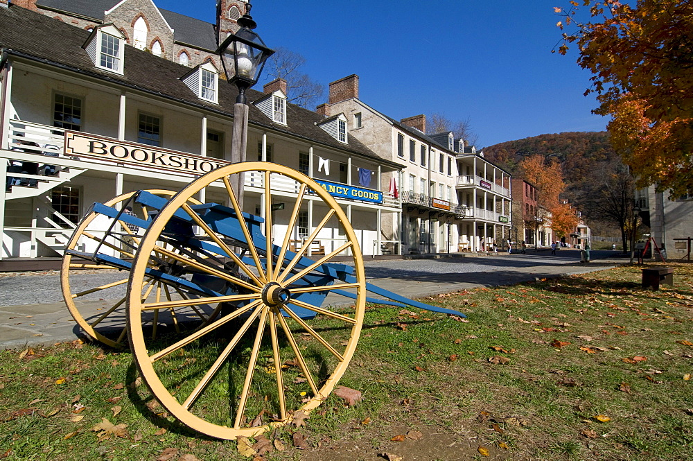 Old carriage in front of the little houses in Harpers Ferry, Maryland, United States of America, USA