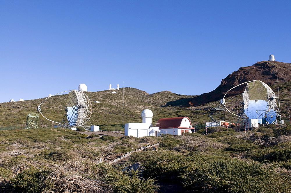 Astronomical telescopes on the Volcano de Taburiente, La Palma, Canary Islands, Spain, Europe