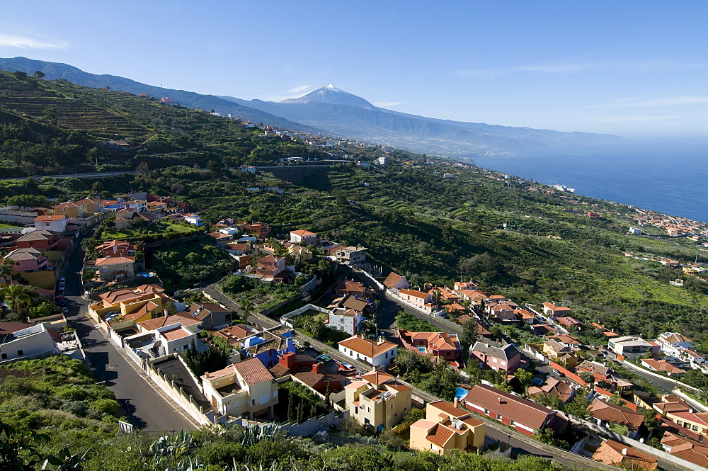 Little town in front of Mount Teide, Pico del Teide volcano, Unesco World Heritage Site, Tenerife, Canary Islands, Spain, Europe