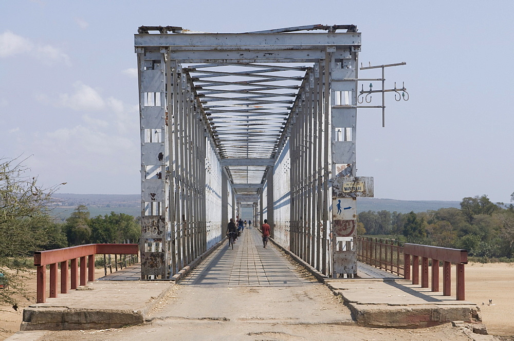 Steel bridge across Mandrare river, Madagascar, Africa