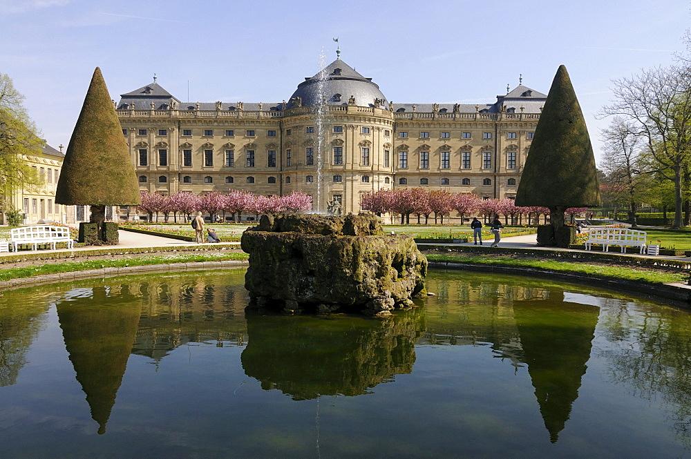 The Wuerzburger Residenz palace, Wuerzburg, Lower Franconia, Bavaria, Germany, Europe