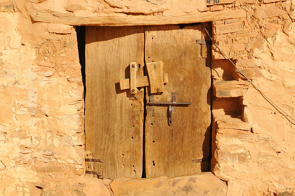 Old wooden door in the town of Chinguetti, Mauritania, northwestern Africa