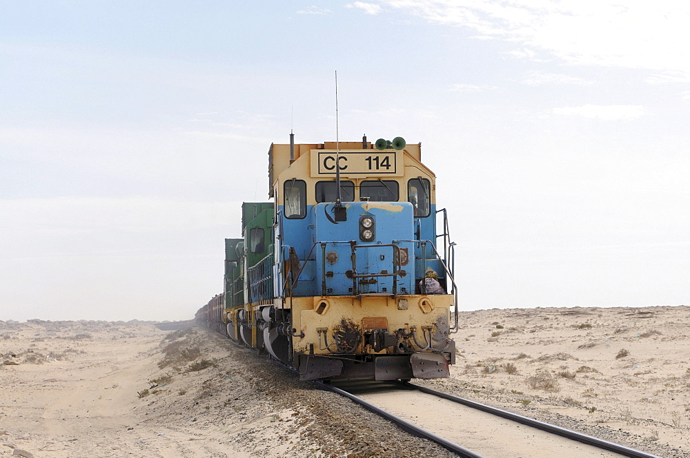 Iron ore train of Zouerat, the longest and heaviest train in the world, Nouadhibou, Mauritania, northwestern Africa