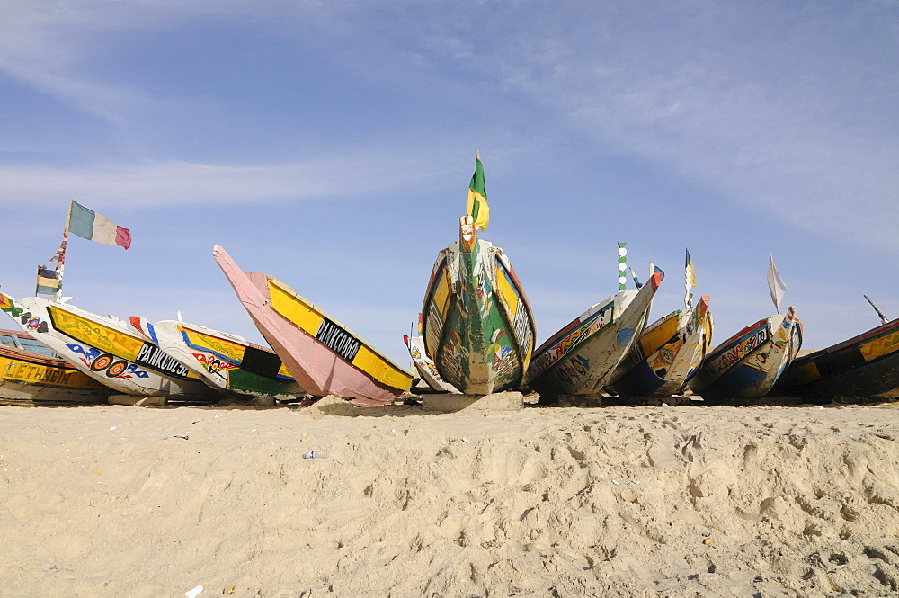 Colourful fishing boats in the fishing harbour of Nouakchott, Mauritania, northwestern Africa