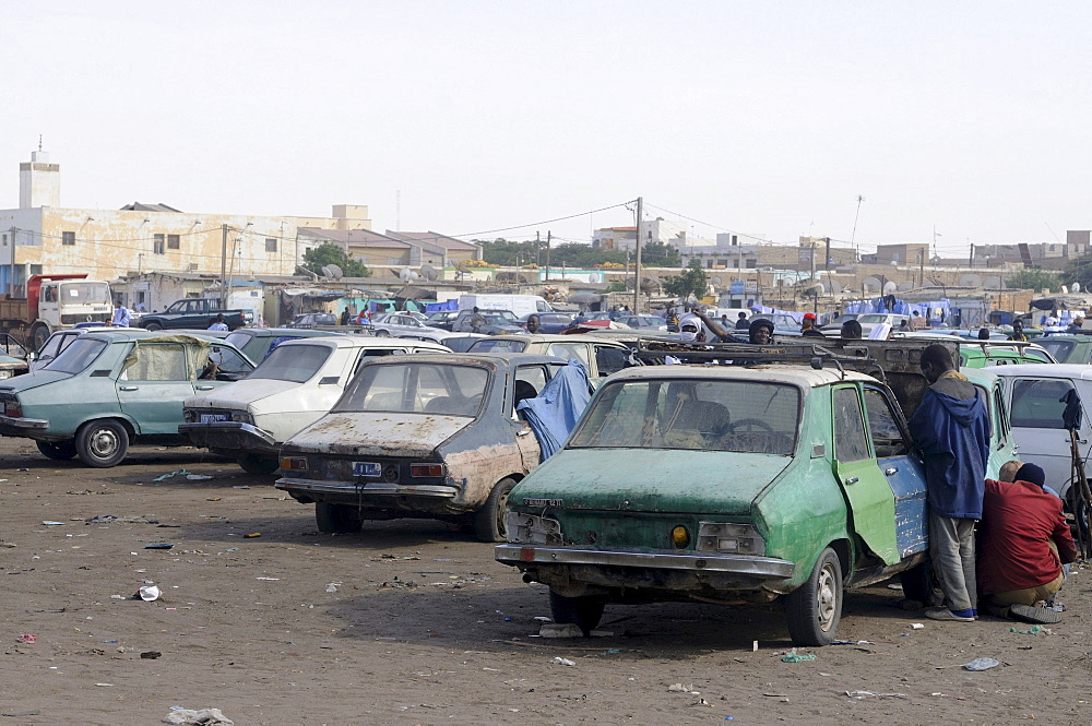 Old Renaults at the central taxi rank of Nouakchott, Mauritania, northwestern Africa