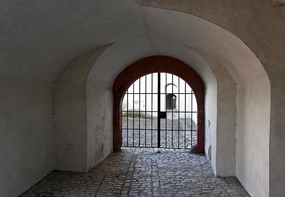 Iron gate in a fortress, Wuerzburg, Bavaria, Germany, Europe