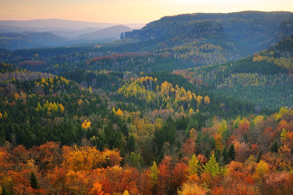 View of the Nasser Grund from the Gratweg ridge trail, Saechsische Schweiz, Saxon Switzerland, Elbe Sandstone Mountains, Saxony, Germany, Europe