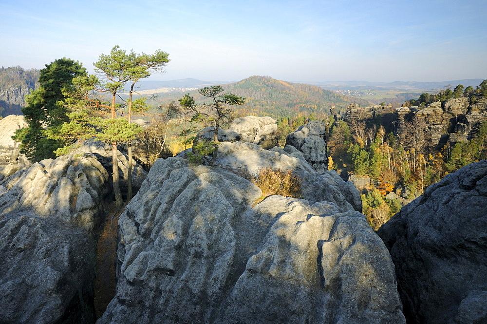 Rock formations in the Saechsische Schweiz, Saxon Switzerland, Elbe Sandstone Mountains, Saxony, Germany, Europe