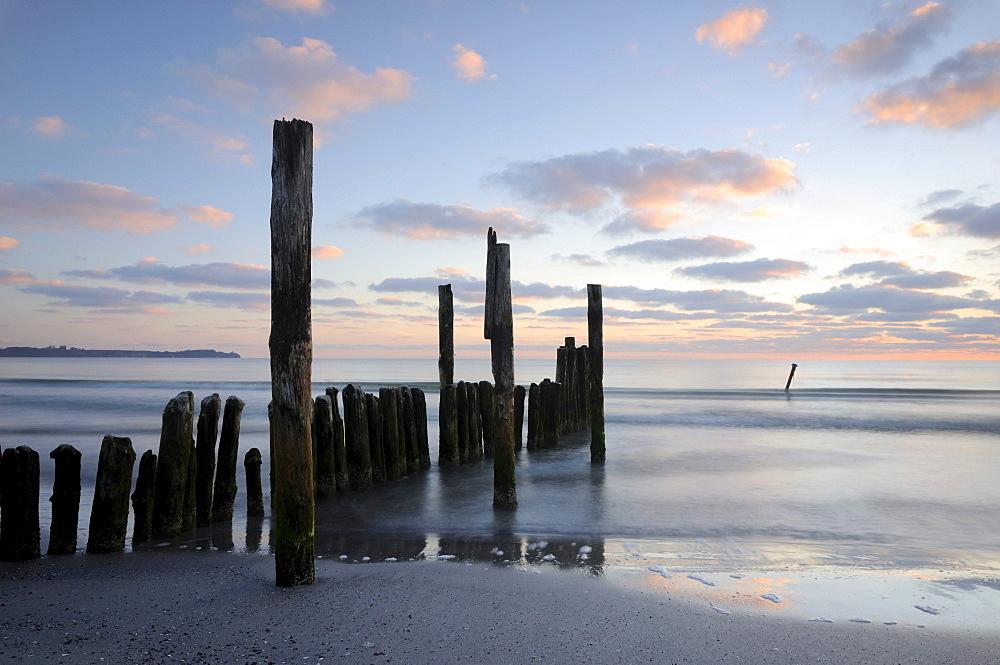 Groynes on a beach near Juliusruh, Rugia island, Mecklenburg-Western Pomerania, Germany, Europe