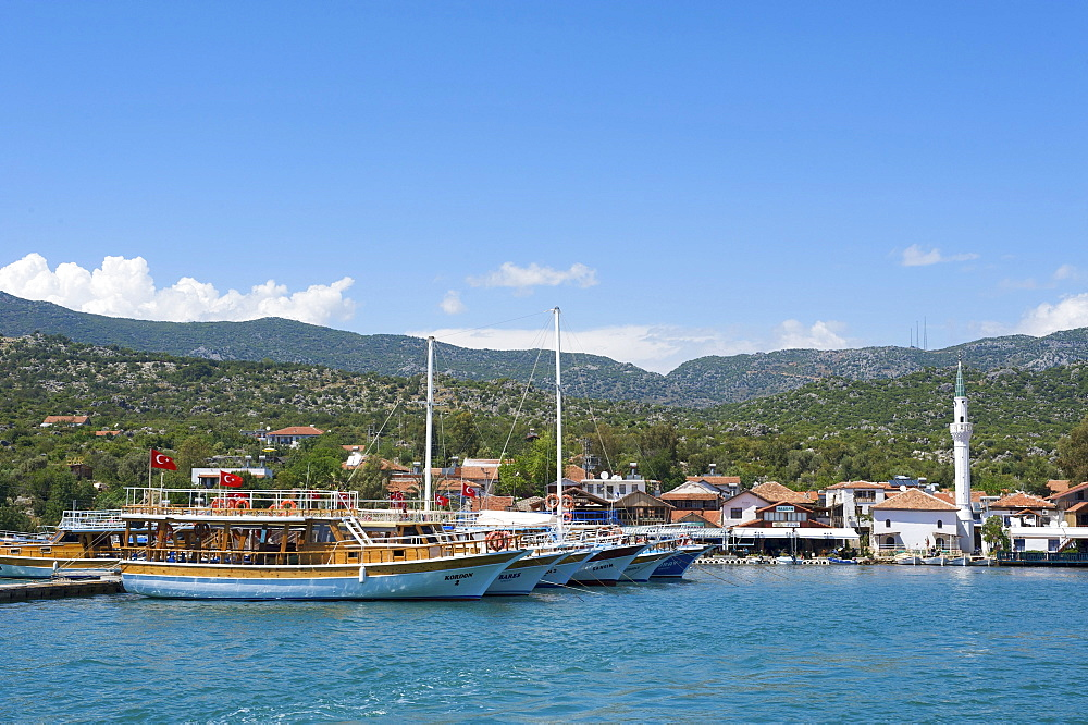 Excursion boat in the port of Ucagiz, southern coast of Turkey