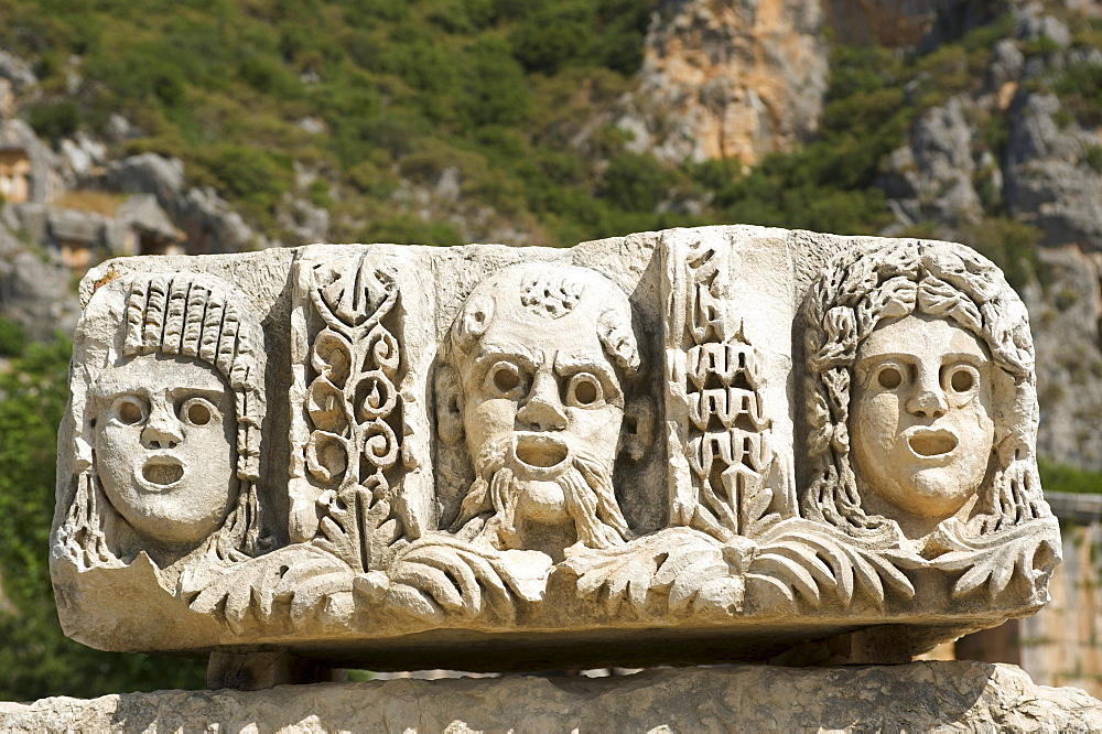 Theater masks in Myra, Lycia, southern coast of Turkey, Turkey, Western Asia - 832-126891