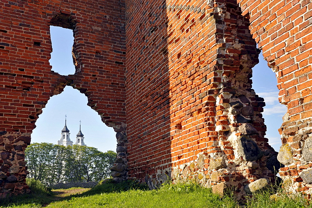 Castle ruins, Castle of the Teutonic Knights, the remains of the gatehouse, view towards St. Mary's Church, Ludza, Latvia, Europe