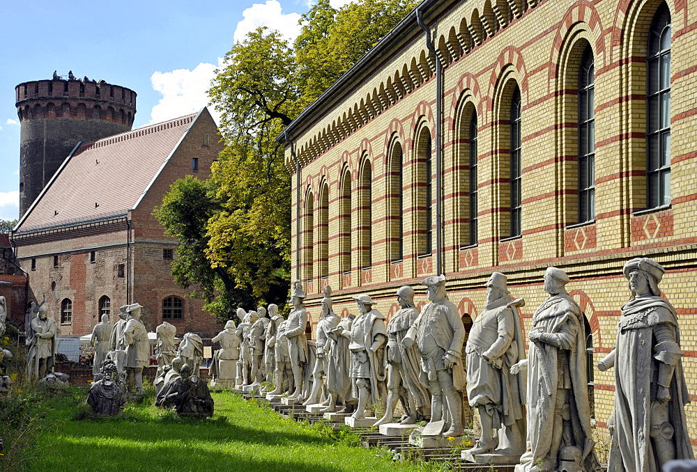 Julius Tower and arsenal, statues from Siegesallee boulevard in Berlin's Tiergarten, Spandau Citadel fortress, Berlin, Germany, Europe