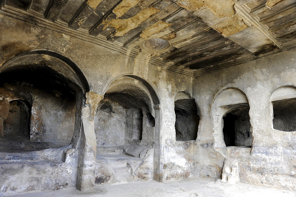 Cave complex town of Uplistsikhe, since 10th Century BC, hall of Tamara, Georgia, Eurasia