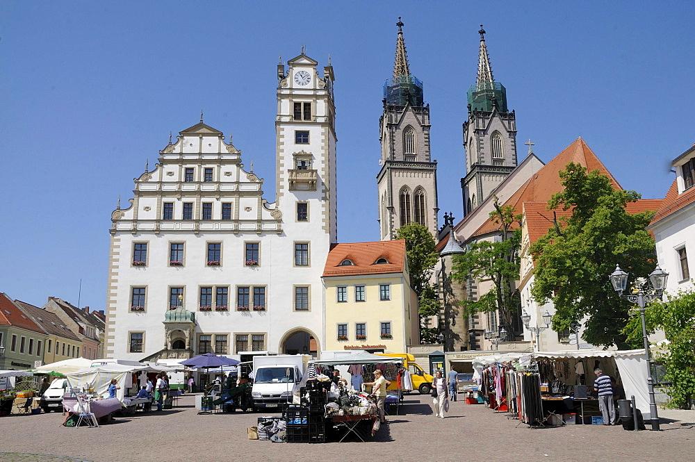 St. Aegidien church, town hall and market square of Oschatz, Landkreis Nordsachsen county, Saxony, Germany, Europe