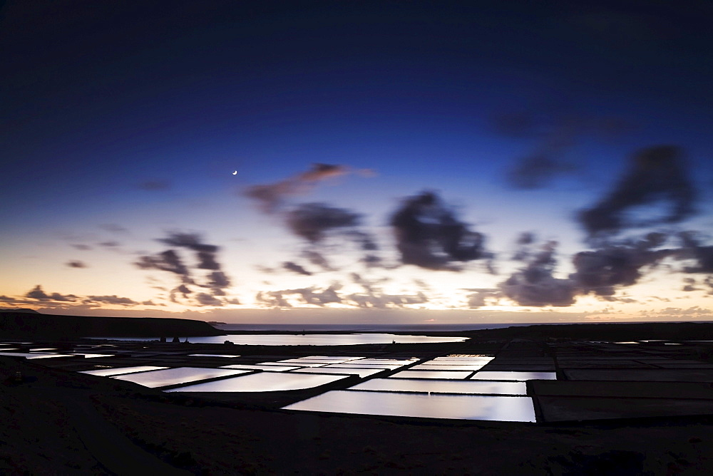Dusk, Salinas de Janubio, Lanzarote, Canary Islands, Spain, Europe