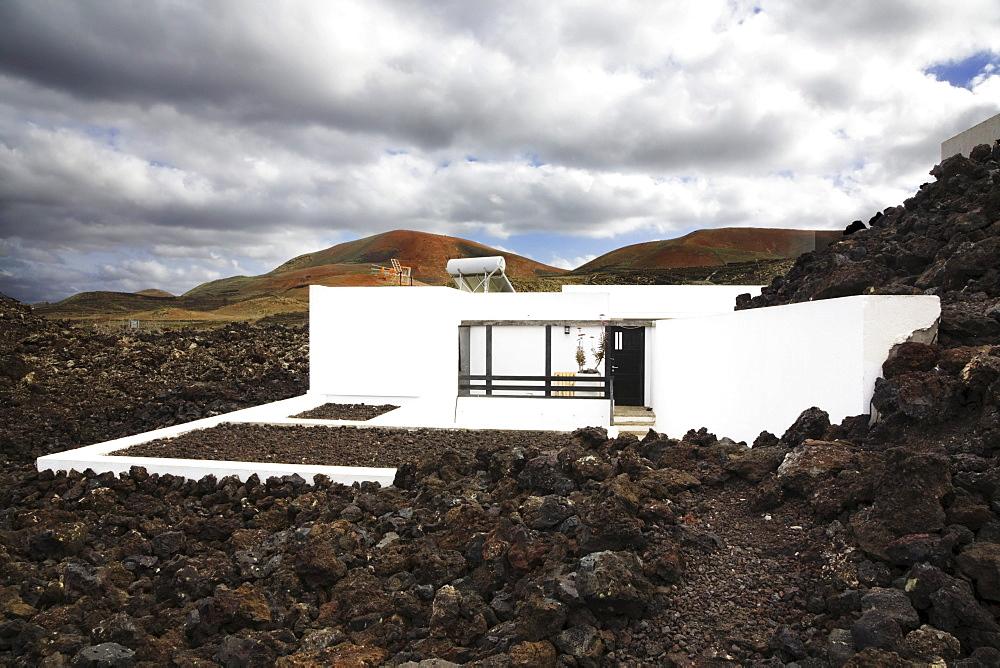 Visitors center Centro del Visitante in a lava landscape, Timanfaya National Park, Lanzarote, Canary Islands, Spain, Europe