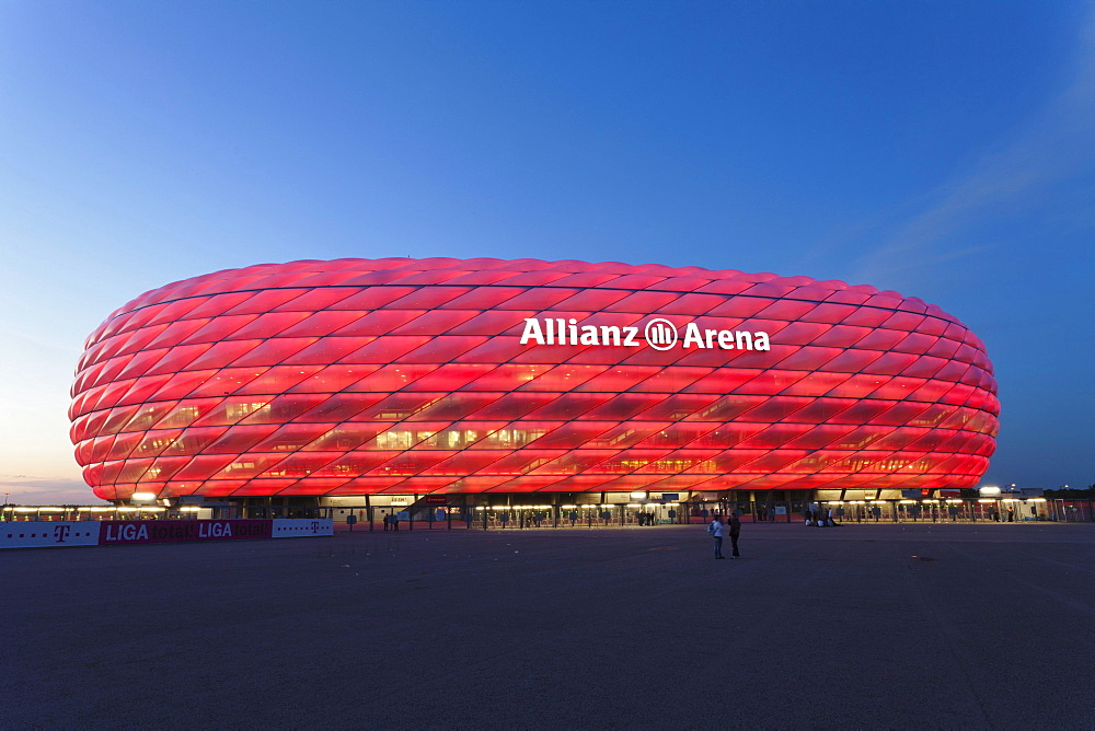 Allianz Arena, illuminated, Munich, Upper Bavaria, Bavaria, Germany, Europe - 832-127581