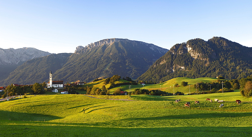 Pfronten, Breitenberg mountain at the back, Tannheimer Berge mountain range, Ostallgaeu district, Allgaeu region, Swabia region, Bavaria, Germany, Europe