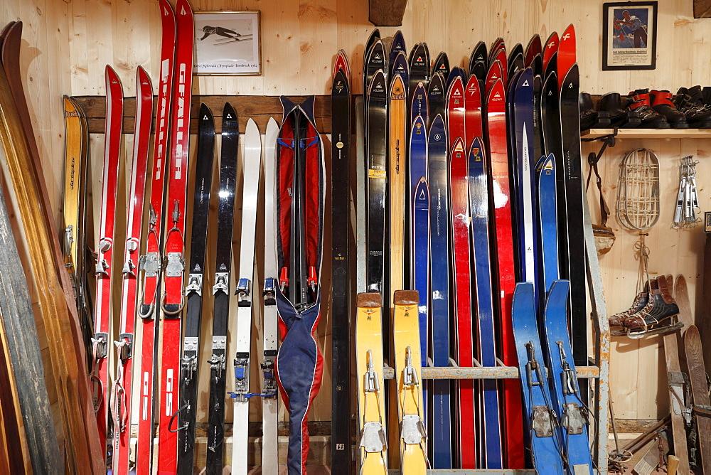 Old skies, Markus Wasmeier Farm and Winter Sports Museum, Schliersee, Upper Bavaria, Bavaria, Germany, Europe