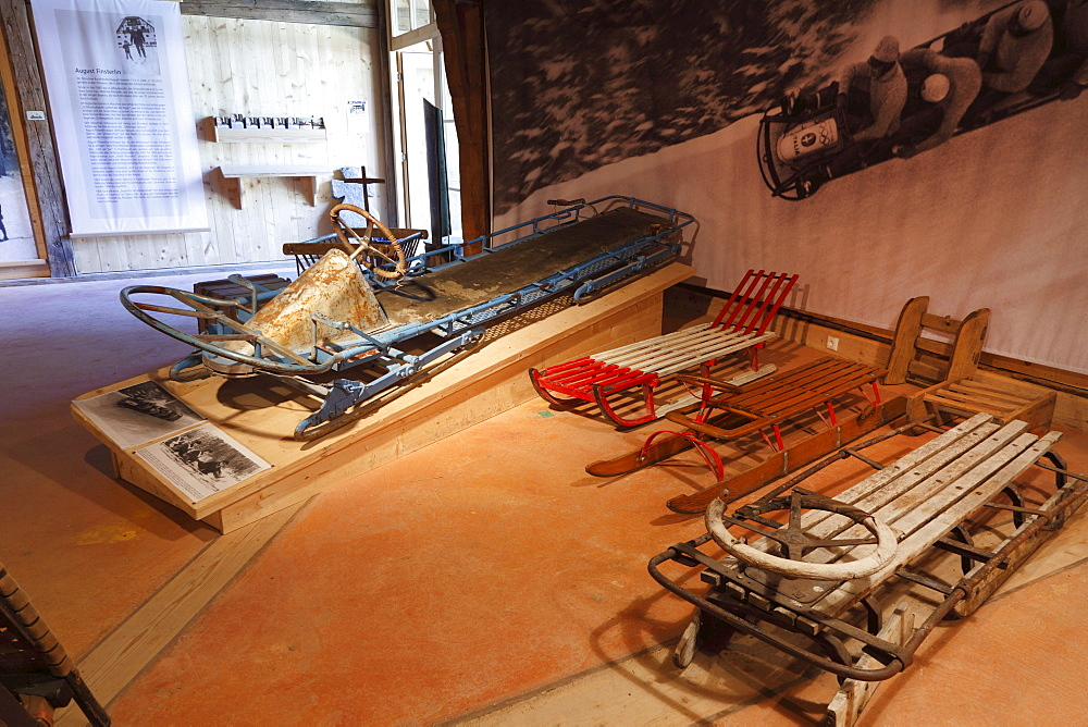 Old bobsleighs, Markus Wasmeier Farm and Winter Sports Museum, Schliersee, Upper Bavaria, Bavaria, Germany, Europe