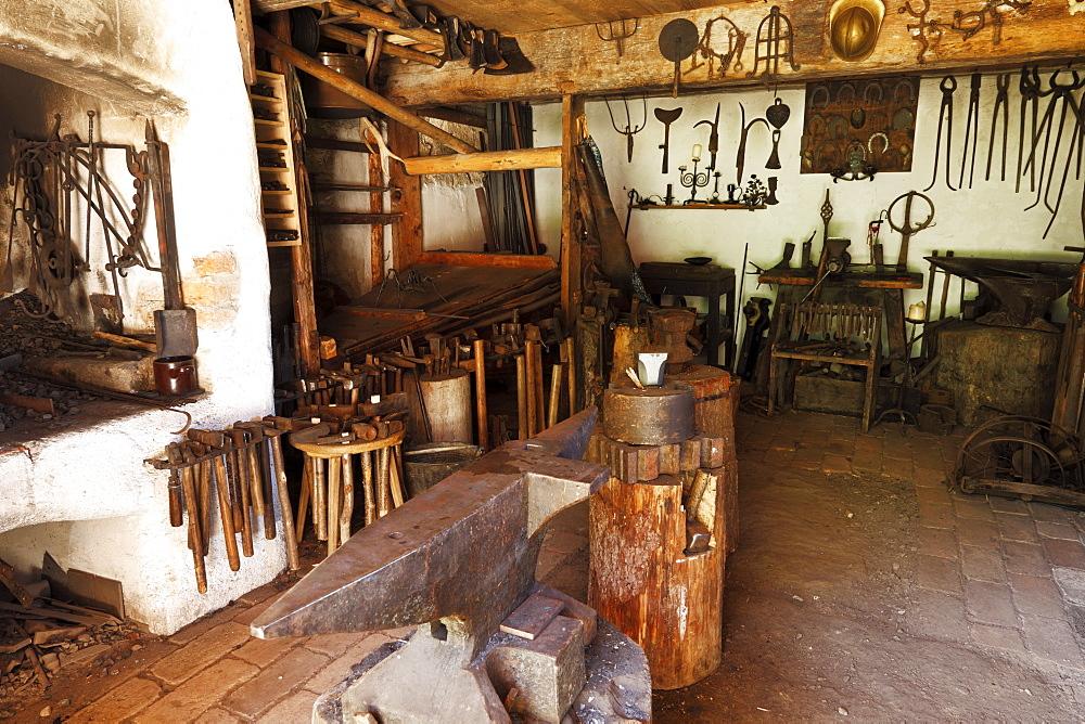 Blacksmith's shop, Markus Wasmeier Farm and Winter Sports Museum, Schliersee, Upper Bavaria, Bavaria, Germany, Europe