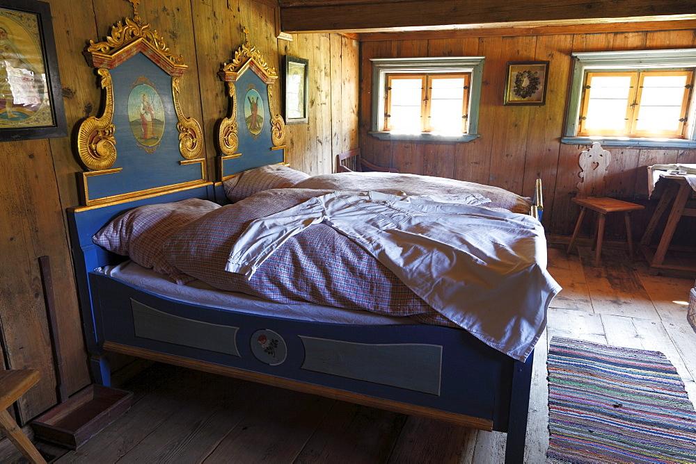 Bedroom at the Lukashof farm, Markus Wasmeier Farm and Winter Sports Museum, Schliersee, Upper Bavaria, Bavaria, Germany, Europe