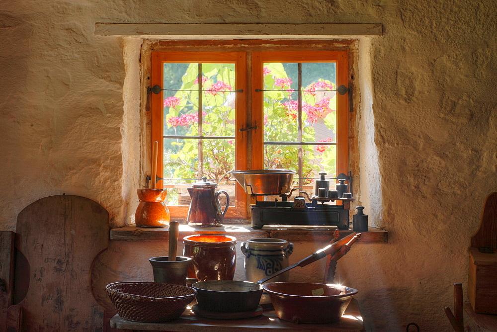 Kitchen appliances at the Lukashof farm, Markus Wasmeier Farm and Winter Sports Museum, Schliersee, Upper Bavaria, Bavaria, Germany, Europe