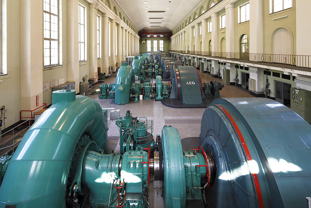 Turbine Hall, powerhouse of the Walchensee Hydroelectric Power Station, hydroelectric power from Lake Walchen to Lake Kochel, Kochel, Upper Bavaria, Bavaria, Germany, Europe