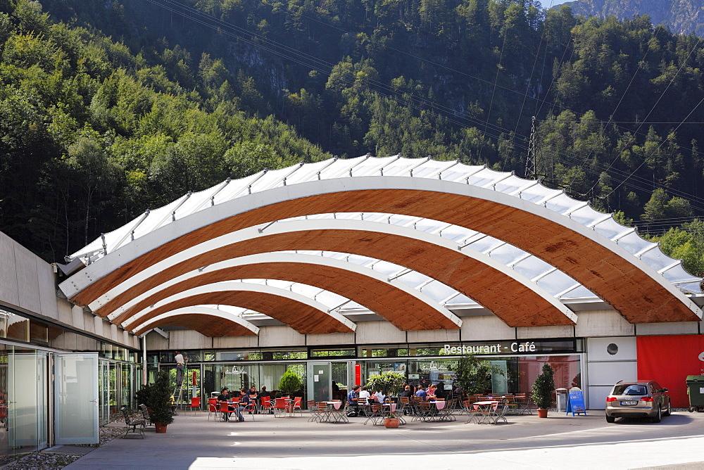 Information center with restaurant, Walchensee Hydroelectric Power Station, Kochel, Upper Bavaria, Bavaria, Germany, Europe