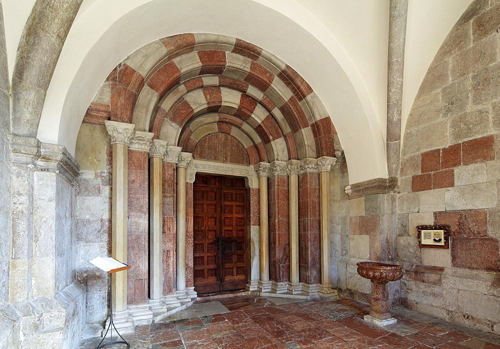 Portal in the vestibule of the Collegiate Church of St. Peter and St. John the Baptist, Berchtesgaden, Berchtesgadener Land, Upper Bavaria, Bavaria, Germany, Europe