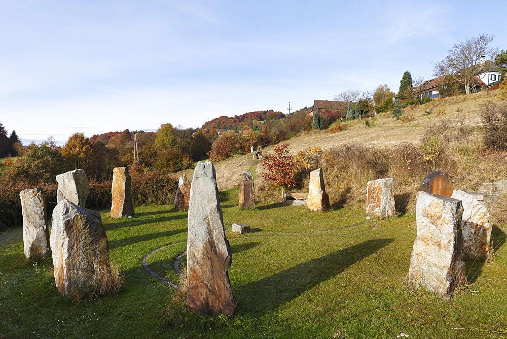 Stone circle, Celtic megalith replicas, Geyersberg, Bergen municipality in the Dunkelsteinerwald area, Wachau, Mostviertel region, Lower Austria, Austria, Europe