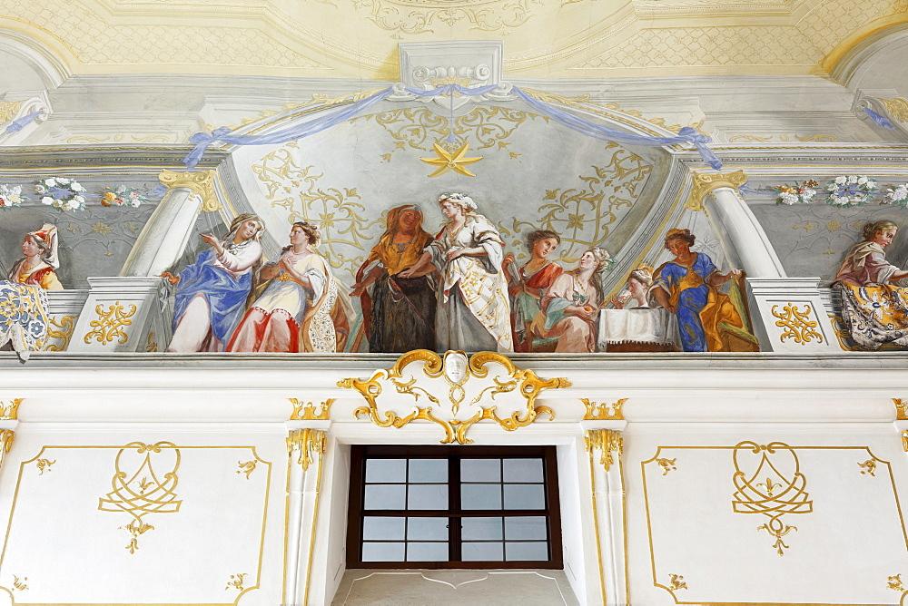 Ceiling fresco, Wedding at Cana by Johann Rudolf Byss and Johann Baptist Byss in Altmanni Hall in the Imperial Wing, Goettweig Abbey, Wachau, Mostviertel, Must Quarter, Lower Austria, Austria, Europe