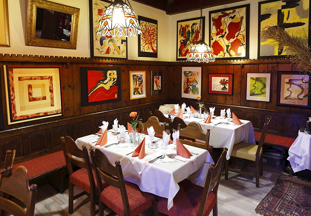 Restaurant Gozzoburg with paintings by Helga Bruckner, Krems, Wachau, Waldviertel, Forest Quarter, Lower Austria, Austria, Europe