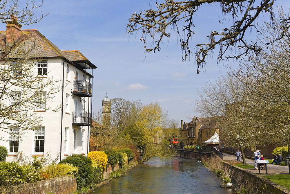 River Avon between High Street and Crane Bridge Street, Salisbury, Wiltshire, England, United Kingdom, Europe