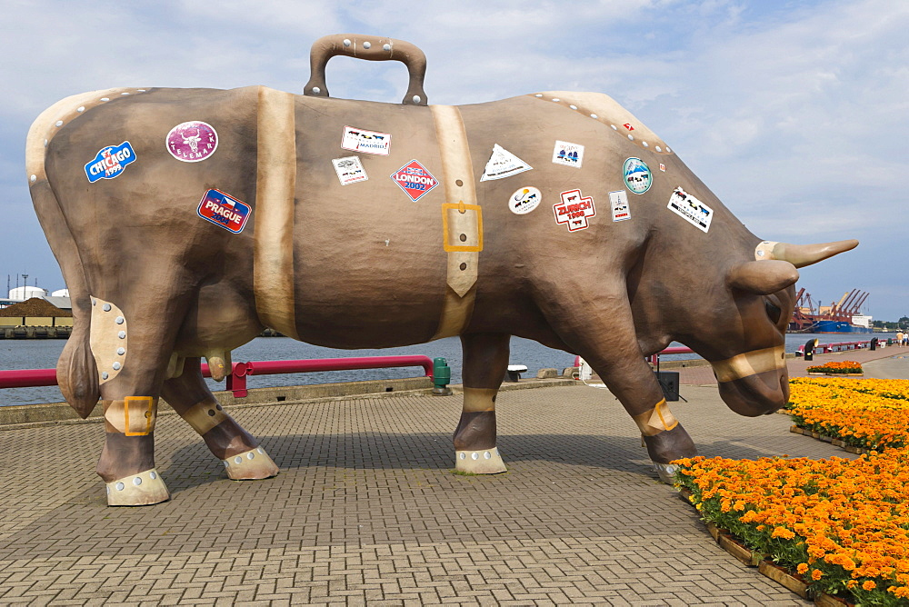 Celojosa govs, Travelling Cow, Cow Parade, Ostas ielas promenade, Spikeru piekraste, Ostas Street Promenade, port, also known as Venta Embankment, Ventmala, Ventspils, Kurzeme, Latvia, Northern Europe
