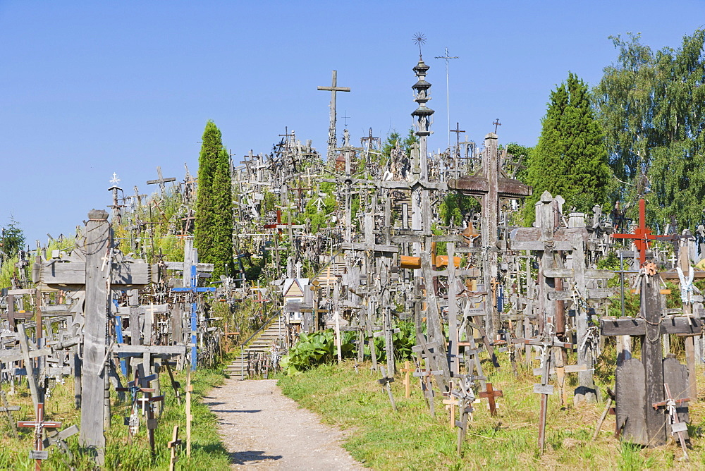 Kriziu kalnas, The Hill of Crosses, a site of pilgrimage, 12 km north of the city of Siauliai, Lithuania, Northern Europe