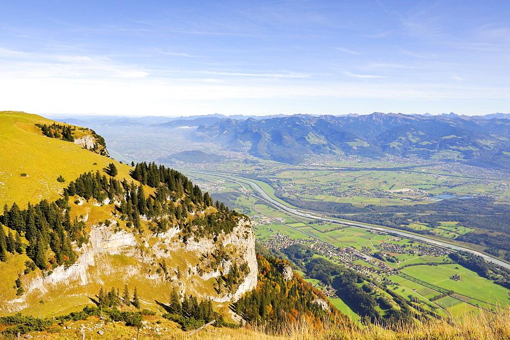 View from Mt. Hoher Kasten over the Lienz Spitz peak in the Rhine Valley, Canton Appenzell Inner Rhodes, Switzerland, Europe