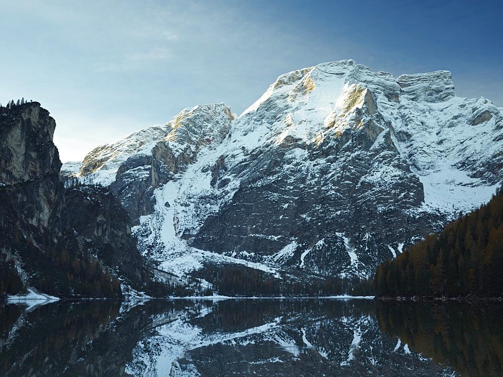 Lago di Braies or Pragser Wildsee lake at sunrise, Puster Valley, Alto Adige, Italy, Europe