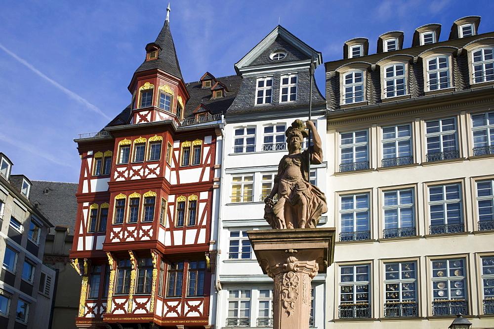 Haus Grosser Engel building, historic half-timbered house, Ostzeile, Roemerberg, Frankfurt, Hesse, Germany, Europe