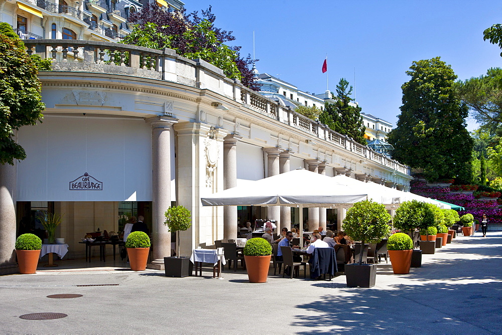 Terrace of the Cafe at the Beau-Rivage Palace, a first class hotel, Lausanne, canton of Vaud, Lake Geneva, Switzerland, Europe