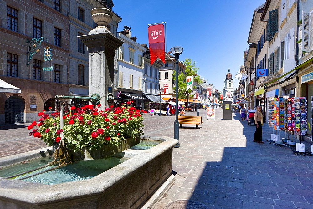 Historic town centre of Morges, Lake Geneva, Canton of Vaud, Switzerland, Europe
