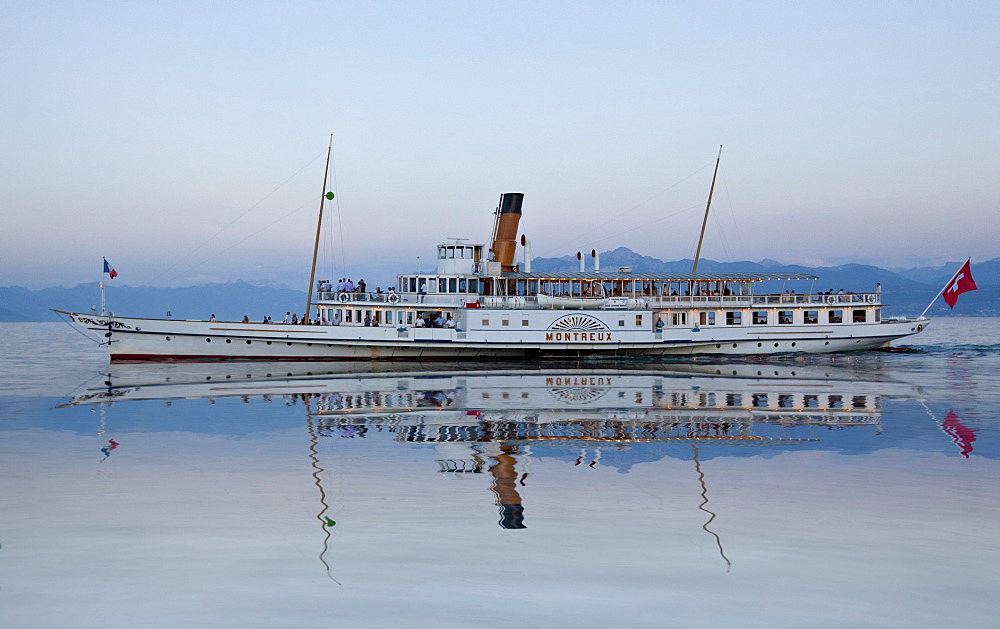 Old paddle-steamer as a ferry for tourists, Morges, Canton of Vaud, Lake Geneva, Switzerland, Europe