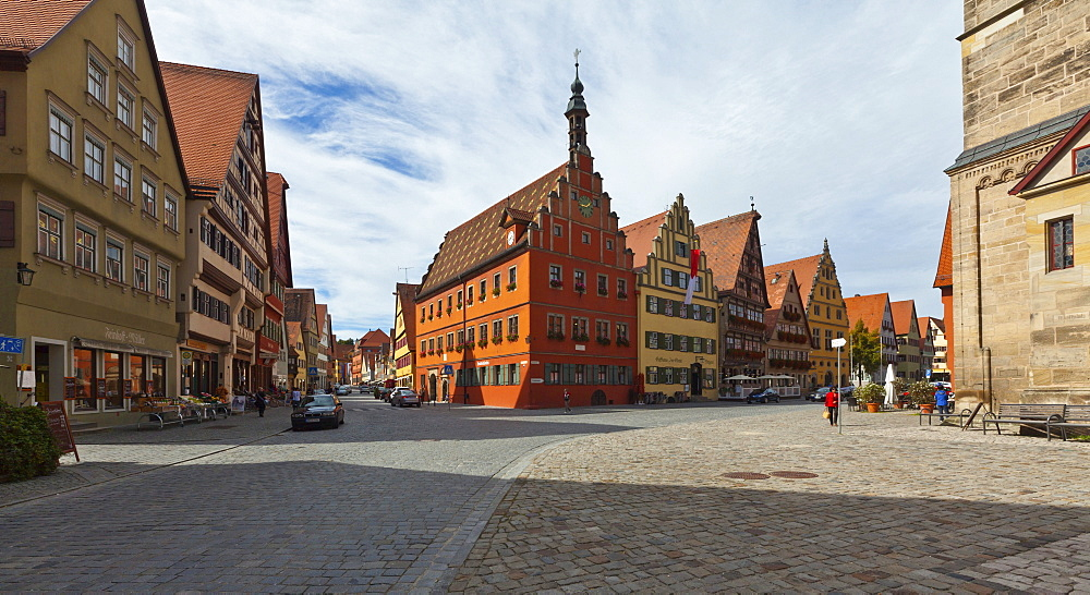 Weinmarkt square and the Gustav-Adolf-Haus building, Turmgasse street, historic district in Dinkelsbuehl, administrative district of Ansbach, Middle Franconia, Bavaria, Germany, Europe
