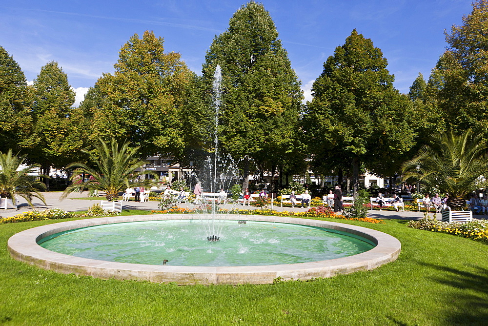 Pensioners in the Kurgarten, a spa garden, Bad Kissingen, Lower Franconia, Bavaria, Germany, Europe