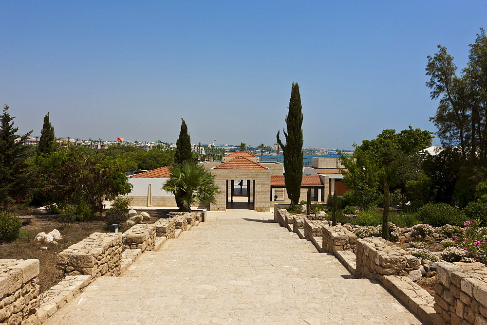 Entrance to the excavation site in Paphos, UNESCO World Heritage site, Kato Paphos resort, Paphos, southern Cyprus